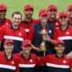 KOHLER, WISCONSIN - SEPTEMBER 26: Team United States celebrates with the Ryder Cup after defeat Team Europe 19 to 9 during Sunday Singles Matches of the 43rd Ryder Cup at Whistling Straits on September 26, 2021 in Kohler, Wisconsin. (Photo by Richard Heathcote/Getty Images)