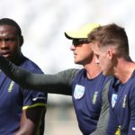 CAPE TOWN, SOUTH AFRICA - JANUARY 02: Andile Phehlukwayo, Kagiso Rabada, Dale Steyn and Morne Morkel during the South African national cricket team training session at PPC Newlands on January 02, 2018 in Cape Town, South Africa. (Photo by Shaun Roy/Gallo Images/Getty Images)