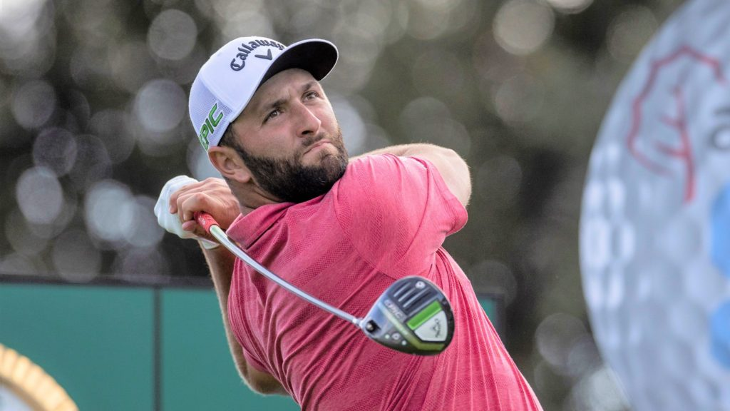 epa09516865 Spanish golfer Jon Rahm tees off during the last round of the Acciona Open Espana Golf tournament at the Club de Campo Villa country club in Madrid, Spain, 10 October 2021. EPA/Mariscal