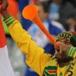 South African fan blowing his vuvuzela