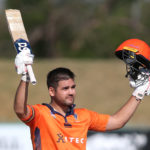 Rilee Rossouw of the Itec Knights celebrates scoring his century during the 2021/22 CSA Provincial T20 Cup quarter-final match between the Itec Knights and Six Gun Grill Western Province held at the Diamond Oval in Kimberley on 19 October 2021 ©Shaun Roy/BackpagePix
