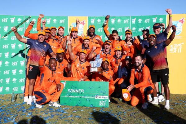 Itec Knights celebrate winning the 2021/22 CSA Provincial T20 Cup Final between Hollywoodbets Dolphins and Itec Knights held at the Diamond Oval in Kimberley on 22 October 2021 ©Shaun Roy/BackpagePix