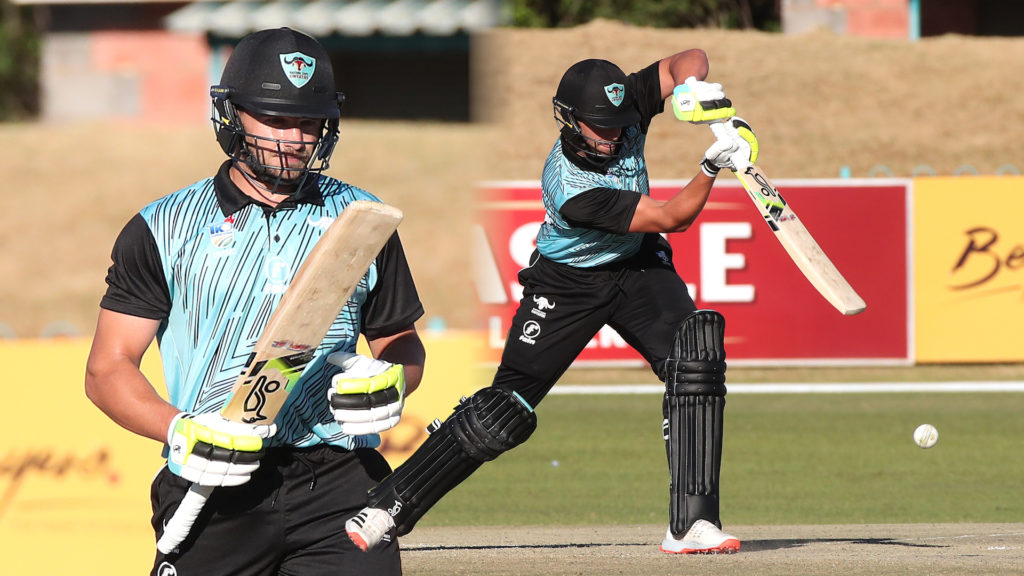Marco Marais of Eastern Cape Iinyathi drives a delivery through the covers during the 2021/22 CSA Provincial T20 Cup cricket match between the Eastern Cape Iinyathi and Limpopo Impala at the Diamond Oval, Kimberley on 04 October 2021@Gavin Barker/BackpagePix