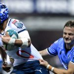 Mandatory Credit: Photo by Ryan Hiscott/INPHO/Shutterstock/BackpagePix (12531145r) Cardiff Rugby vs Vodacom Bulls. Bulls' Kurt-Lee Arendse is tackled by Hallam Amos of Cardiff Rugby United Rugby Championship, Cardiff Arms Park, Cardiff, Wales - 09 Oct 2021