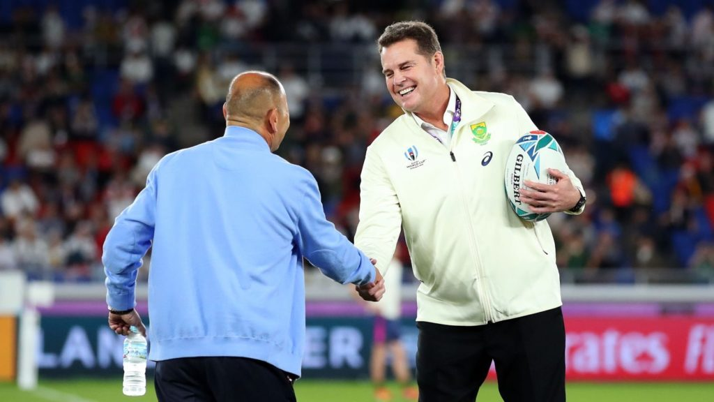 YOKOHAMA, JAPAN - NOVEMBER 02: Eddie Jones, Head Coach of England (L) shakes hands with Rassie Erasmus, Head Coach of South Africa prior to during the Rugby World Cup 2019 Final between England and South Africa at International Stadium Yokohama on November 02, 2019 in Yokohama, Kanagawa, Japan. (Photo by Cameron Spencer/Getty Images)