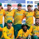 South Africa's players pose with the series trophy at the end of the 5th and final T20I between West Indies and South Africa at Grenada National Cricket Stadium, Saint George's, Grenada, on July 3, 2021. (Photo by Randy Brooks / AFP) (Photo by RANDY BROOKS/AFP via Getty Images)