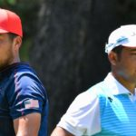 USA's Xander Schauffele (L) and Japan's Hideki Matsuyama (R) look on before they tee off from the 5th tee in round 4 of the mens golf individual stroke play during the Tokyo 2020 Olympic Games at the Kasumigaseki Country Club in Kawagoe on August 1, 2021. (Photo by Kazuhiro NOGI / AFP) (Photo by KAZUHIRO NOGI/AFP via Getty Images)