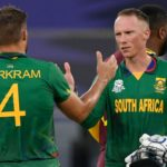 South Africa's Aiden Markram and Rassie van der Dussen celebrate their victory at the end of the during the ICC mens Twenty20 World Cup cricket match between South Africa and West Indies at the Dubai International Cricket Stadium in Dubai on October 26, 2021. (Photo by Aamir QURESHI / AFP) (Photo by AAMIR QURESHI/AFP via Getty Images)