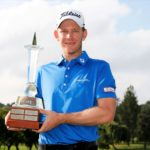 JOHANNESBURG, SOUTH AFRICA - NOVEMBER 22: Joachim B. Hansen of Denmark with the winners trophy after the final round of the Joburg Open at Randpark Golf Club on November 22, 2020 in Johannesburg, South Africa. (Photo by Luke Walker/Getty Images)
