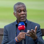 BIRMINGHAM, ENGLAND - JUNE 11: Former West Indies fast bowler Michael Holding, working as a commentator for Sky Sports Cricket during day two of the second Test Match at Edgbaston on June 11, 2021 in Birmingham, England. (Photo by Visionhaus/Getty Images)