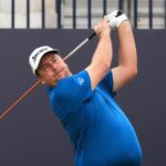 SANDWICH, ENGLAND - JULY 15: Jaco Ahlers of South Africa plays his shot from the first tee during Day One of The 149th Open at Royal St George's Golf Club on July 15, 2021 in Sandwich, England. (Photo by Chris Trotman/Getty Images)