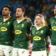 GOLD COAST, AUSTRALIA - SEPTEMBER 12: South Africa sing the national anthem ahead of the Rugby Championship match between the South Africa Springboks and the Australian Wallabies at Cbus Super Stadium on September 12, 2021 in Gold Coast, Australia. (Photo by Chris Hyde/Getty Images)