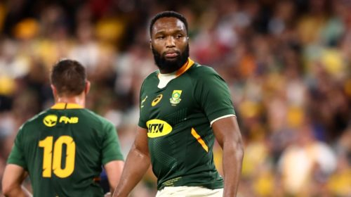 TOWNSVILLE, AUSTRALIA - SEPTEMBER 25: Lukhanyo Am of South Africa looks on after losing the Rugby Championship match between the New Zealand All Blacks and the South African Springboks at QCB Stadium on September 25, 2021 in Townsville, Australia. (Photo by Chris Hyde/Getty Images)