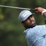 JACKSON, MISSISSIPPI - OCTOBER 01: Sahith Theegala plays his shot from the seventh tee during round two of the Sanderson Farms Championship at Country Club of Jackson on October 01, 2021 in Jackson, Mississippi. (Photo by Sam Greenwood/Getty Images)