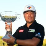 LAS VEGAS, NEVADA - OCTOBER 10: Sungjae Im of South Korea celebrates with the trophy after winning the Shriners Children's Open at TPC Summerlin on October 10, 2021 in Las Vegas, Nevada. (Photo by Alex Goodlett/Getty Images)