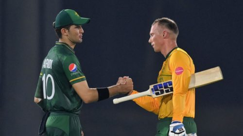 ABU DHABI, UNITED ARAB EMIRATES - OCTOBER 20: Rassie van der Dussen of South Africa shakes hands with Shaheen Shah Afridi of Pakistan after the Pakistan and South Africa warm Up Match prior to the ICC Men's T20 World Cup at on October 20, 2021 in Abu Dhabi, United Arab Emirates. (Photo by Gareth Copley-ICC/ICC via Getty Images)