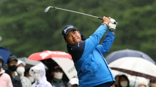 INZAI, JAPAN - OCTOBER 22: Hideki Matsuyama of Japan hits his second shot on the 12th hole during the second round of the ZOZO Championship at Accordia Golf Narashino Country Club on October 22, 2021 in Inzai, Chiba, Japan. (Photo by Atsushi Tomura/Getty Images)