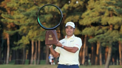 INZAI, JAPAN - OCTOBER 24: Hideki Matsuyama of Japan poses with the trophy after winning the tournament following the final round of the ZOZO Championship at Accordia Golf Narashino Country Club on October 24, 2021 in Inzai, Chiba, Japan. (Photo by Atsushi Tomura/Getty Images)